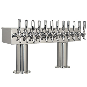 "Double Pedestal - 12 304 Faucets - 3"" Center - Polished SS - Glycol Cooled"