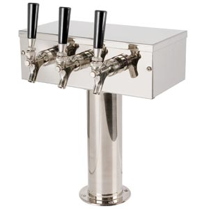 """T"" Style Tower - 3 304 Faucets -  Polished Stainless Steel - Glycol Cooled"