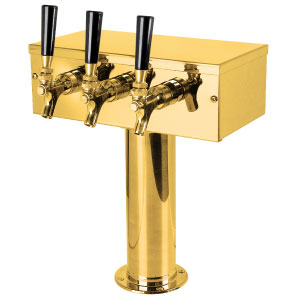 """T"" Style Tower - 3 Faucets - PVD Brass - Glycol Cooled"