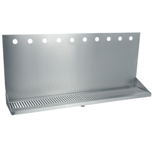 "36"" Stainless Steel Wall Mount Drain Tray - 10 Faucet - 3"" Center"