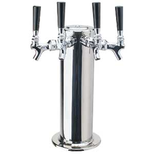 "4"" Column - 4 Faucets - Polished Stainless Steel - Glycol Cooled"