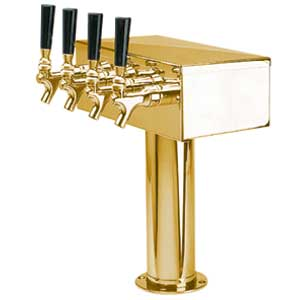 """T"" Style Tower - 4 304 Faucets - PVD Brass - Glycol Cooled"
