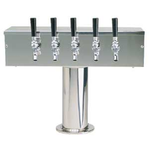 """T"" Style Tower - 5 304 Faucets - Polished Stainless Steel - Glycol Cooled"