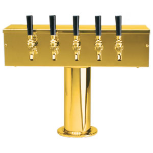 """T"" Style Tower - 5 Faucets - PVD Brass - Glycol Cooled"