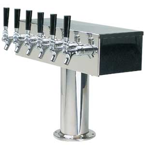 """T"" Style Tower - 6 Faucets - Polished Stainless Steel - Glycol Cooled"