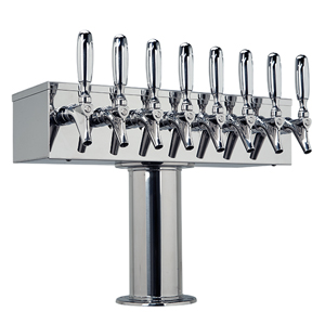 """T"" Style Tower - 8 304 Faucets - 3"" Center - Polished Stainless Steel - Glycol Cooled"