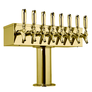 """T"" Style Tower - 8 304 Faucets - 3"" Center - PVD Brass - Glycol Cooled"