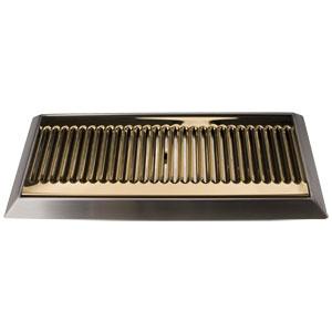"16"" PVD Brass Bevel Edge Drip Tray, With Drain"