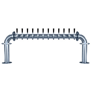 "Biergarten ""U"" - 12 Faucets - Polished Stainless Steel - Glycol Cooled"