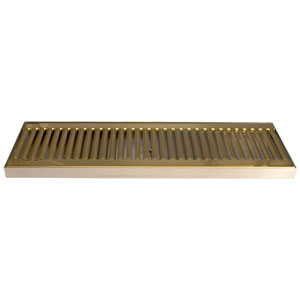 "18"" SS/PVD Brass Surface Mount Drain Tray, w/ Drain Nipple"