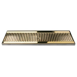 "20"" SS/PVD Brass Surface Mount Drain Tray, w/ Drain Nipple"