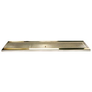 "33"" SS/PVD Brass Surface Mount Drain Tray, w/ Drain Nipple"