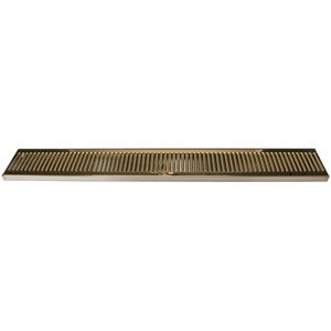 "36"" SS/PVD Brass Surface Mount Drain Tray, w/ Drain Nipple"
