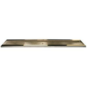 "39"" SS/PVD Brass Surface Mount Drain Tray, w/ Drain Nipple"