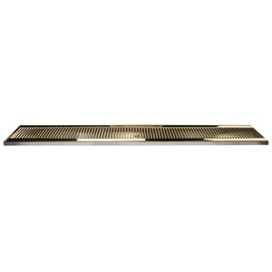 "45"" SS/PVD Brass Surface Mount Drain Tray, w/ Drain Nipple"