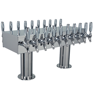 "Double Service Tower - 20 Faucets - 3"" Center -Polished Stainless Steel -Glycol Cooled"