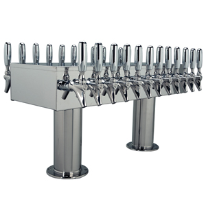 "Double Service Tower - 24 Faucets - 3"" Center -Polished Stainless Steel -Glycol Cooled"