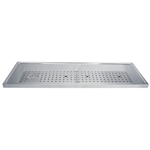 "51"" Stainless Steel Glass Rinser Drain Tray, 8-12 Faucets"