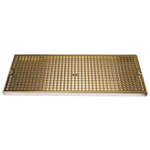 "Surface Mount Drip Tray, 20"" x 8"", Stainless Steel Tray with PVD Grid"