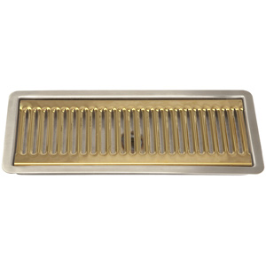 "12"" SS/PVD Brass Flush Mount Drip Tray, w/ Drain"