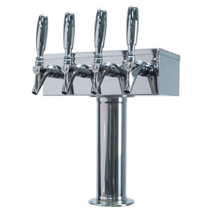 """T"" Style Tower - 4 304 Faucets - Polished Stainless Steel - Glycol Cooled"