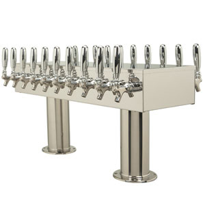 Double Service Tower - 20 304 Faucets - Polished Stainless Steel - Glycol Cooled