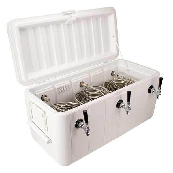 Beer Jockey Box 100 Qt. Coil Cooler - 3 Faucet, White