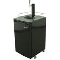 Kegerator fits up to 1/2 Barrel Kegs, Complete with keg tapping equipment.