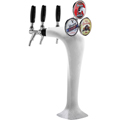 Ice Cobra - Ice Frosted Tower - Glycol Cooled - 3 Faucet - MM1093F-M: Highlight three special beers with this dramatic frozen draft beer tower with Illuminated Medallions!