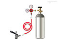 Kegerator Tapping Kit - TK: Complete Kegerator tapping kit, for use with keg refrigerators, includes empty 5-lb CO2 tank, CO2 regulator, vinyl gas hose, and 'D' system keg coupler.